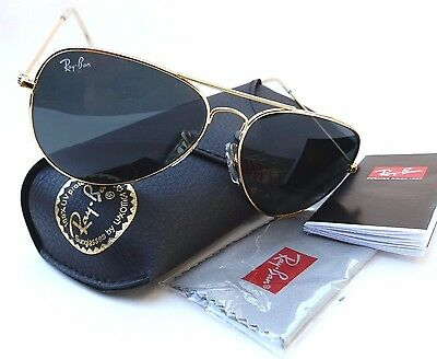 New RAY-BAN RB3025 gold black lens aviator 58mm sunglasses made in ITALY + case