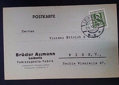 RARE 1925 Austria Postcard ties 8 Gr yellow green Value stamp canc Leibnitz