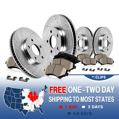 Front+Rear Drilled Slotted Brake Rotors & Ceramic Pads 2007 - 2012 Lexus LS460