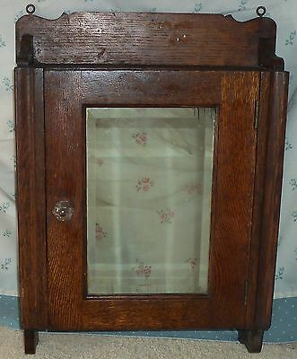 Antique OAK Bathroom MEDICINE WALL CABINET w/BEVELED MIRROR 3 Shelves Home Decor