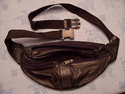 Black Leather Fanny Pack Classic Style Sling Waist Boss Mens Womens