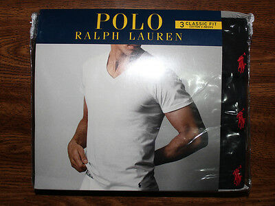 New Polo Ralph Lauren 3 Pack Black Classic Fit V-Neck T-Shirts Size Large