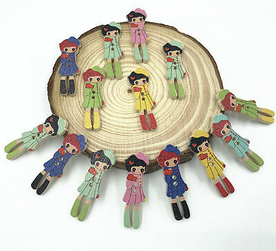 50X Wooden girl Buttons Mixed color decoration Sewing Craft Scrapbooking 35mm
