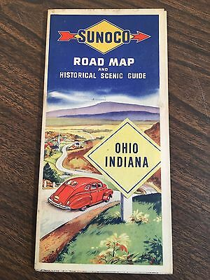 Vintage 1940's Sunoco Ohio Indiana Road Map Historical Scenic Guide Unfolded