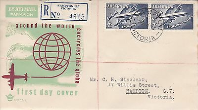 BD422) Australia 1958 Qantas teal and brown cachet Royal FDC