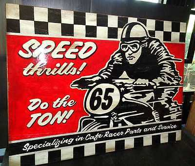 Vintage Style Hand Painted Cafe Racer Do The Ton Wooden Sign