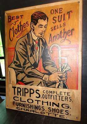 Vintage Style Retro Hand Painted Tripps Clothing Suits Shoes Wooden Sign