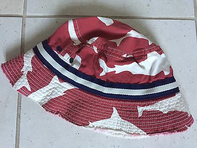 Mini Boden Boys Cotton Sunhat Size 3-6 Years Red Sharks