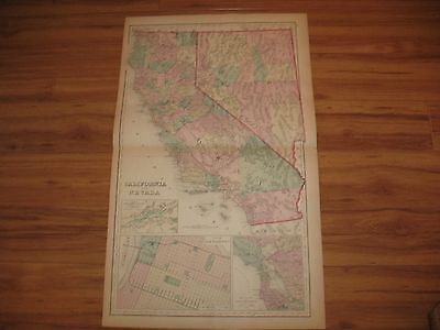 original 1875 GRAYS ATLAS MAP of CALIFORNIA & NAVADA / WASH & OR. on back ~nice