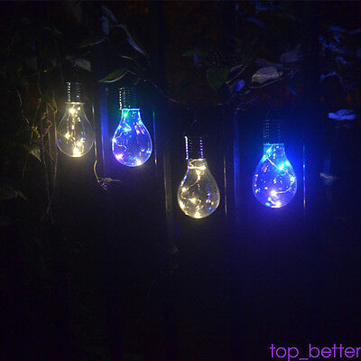 Outdoor Solar Power 5 LED Light Bulb Hanging Camping Lantern Lamp Waterproof TOP