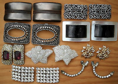 Lot 9 Pair Vintage ~ SHOE CLIPS Dress ~ Rhinestone Celluloid Beaded ~ 18 Total