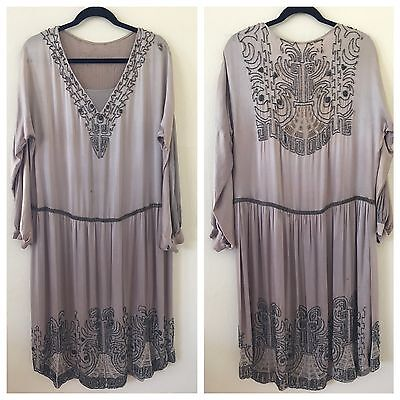 1920's Beaded Silk Dress | Downton Abbey | Size L
