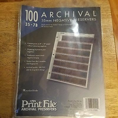 100 35mm Archival Negative Preservers Clear Pages/sleeves Print File 35-7b