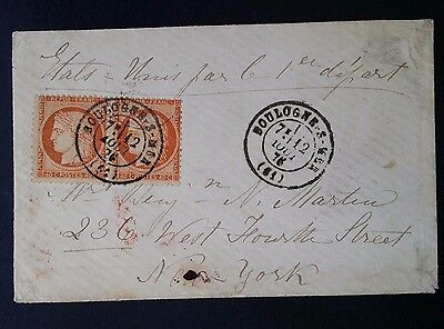 RARE 1876 France Cover ties 2 X 40c reddish orange Ceres stamps canc Boulogne