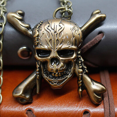 Cool Movie Pirates of the Caribbean 5 Skull head Jack Sparrow Necklace