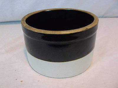 Vintage Crock, Unmarked Small Brown TWO TONED Glazed Stoneware Crock BUTTER