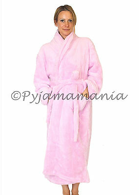 Pyjamas Ladies Fleece Dressing Gown (Sz S-XL) Robe Light Pink Sz 8 10 12 14 16