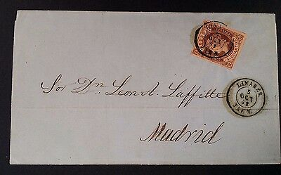 RARE 1862 Spain Folded Letter ties 4c Queen Isabella stamp canc Linaeus