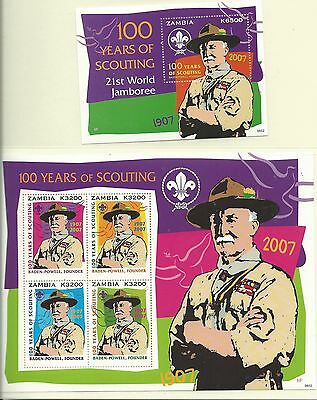 Zambia 2007 Scouts Centenary SG1020-23 +MS1024 mnh. Cat.£24.