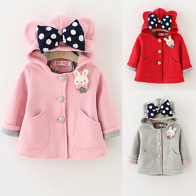 Kids Baby Girls Long Sleeve Rabbit Jacket Coat Hooded Windbreaker Outerwear