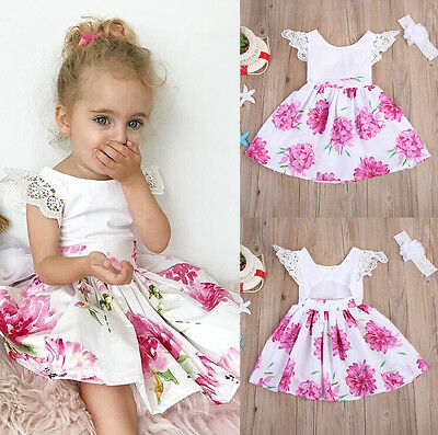 UK Kids Baby Girl Flower Bow Dress Princess Lace Tulle Tutu Formal Party Dresses