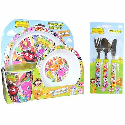 Moshi Monsters Poppet 6pc Tumbler, Bowl, Plate & Cutlery Dinner Mealtime Set