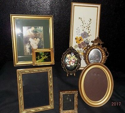 Set Of 8 Varying Gold Vintage Picture Frames/Framed Picture's & A  Mirror