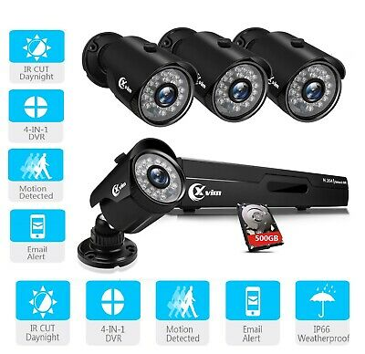 XVIM 4CH 1080N DVR 720P CCTV IR Home Surveillance Security Camera System outdoor