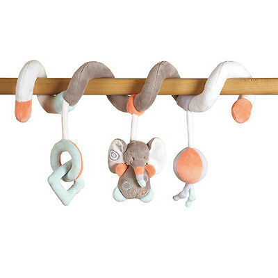 NEW NATTOU Bubbles Soft Plush Baby Toy Pram Crib Cot Spiral - Elephant