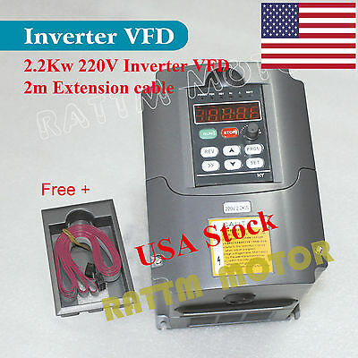 【US free】 2.2KW VFD 220V 3HP Inverter Variable Frequency Drive+Control Panel Box