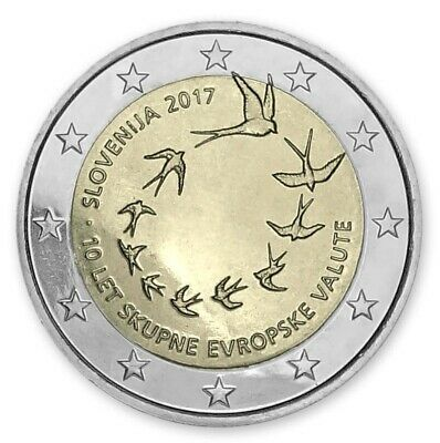 """2017 Slovenia 2 Euro Uncirculated Coin /""""Slovenian Introduction of Euro 10 Years/"""""""