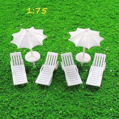 TYS29075 2Sets Parasols Sun Loungers Deck Chairs Bench Settee Spur OO Modellbahn