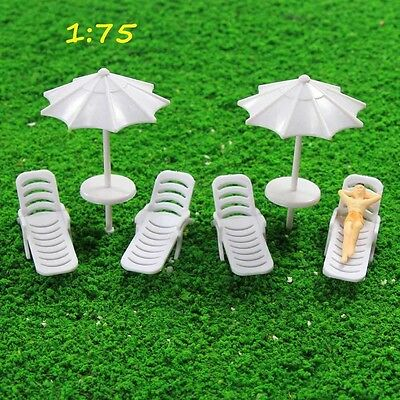 TYS28075 2Sets Parasols Sun Loungers Deck Chairs Bench Settee Spur OO Modellbahn