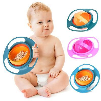 Baby Feeding Toddler Kids Children Gyro 360 Rotating Spill-Proof Bowl Dish