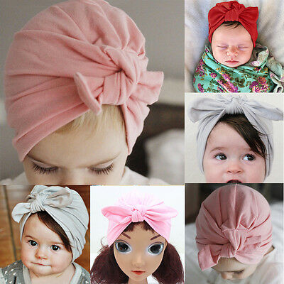 Newborn Baby Toddler Kids Girl Bowknot LOVELY Soft Cotton Beanie Hat US STOCK