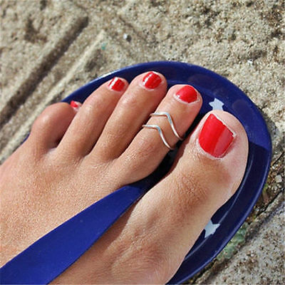 Celebrity Women Punk Fashion Silver Metal Toe Ring Foot Beach Jewelry Adjustable