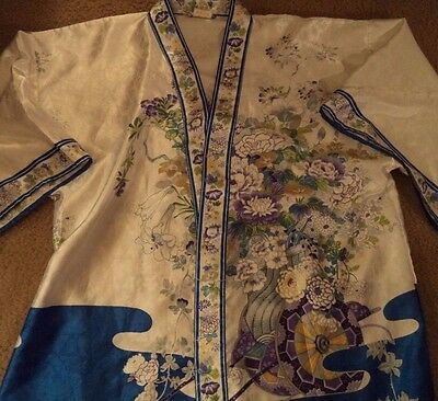 Vintage Kimono Asian Silky Floral Blue White Robe Wrap Japanese