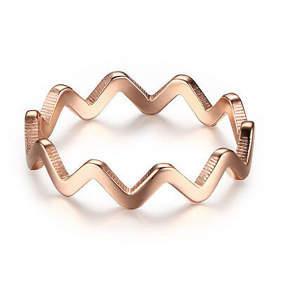 18k Rose Gold Engagement Band Women's Stainless Steel Wave Design Ring Size 6-8