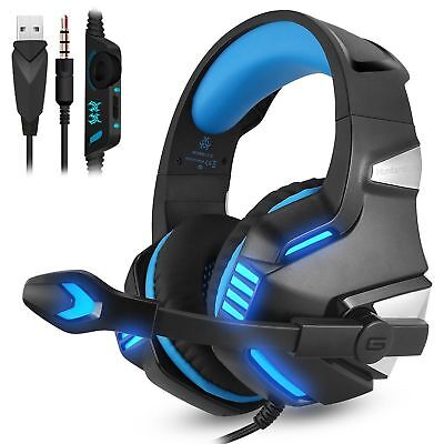 3.5mm Gaming Headset MIC LED Headphone Surround for Mac Laptop PS4 Xbox One Blue