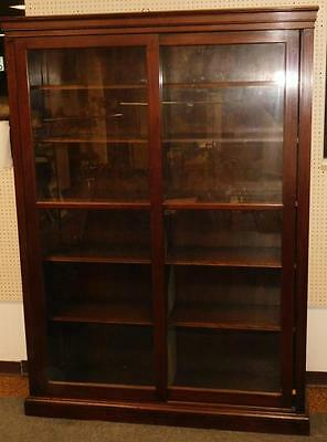 Vintage c. 1920 Large Mahogany 2 Sliding Glass Door Book Case HARVARD Lot 79