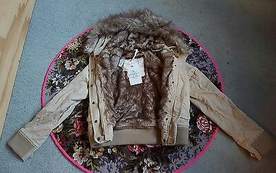 Abercrombie & Fitch ladies faux fur hood khaki bomber jacket coat BNWT sz Medium