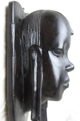Vintage African Tribal Art Wood H/ Carved Warrior Man Ethnic Wall Hanging 23CmL
