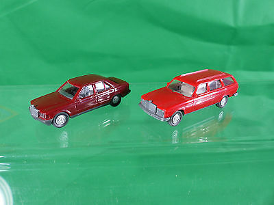 Wiking MB 250 T Kombi in rot + Mercedes Benz 190e - 1/87
