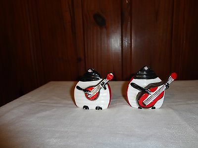 Vintage Novelty Kitsch Ladybirds w Musical Instruments  Salt And Pepper Shakers