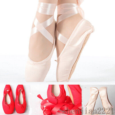 Ladies Girls Satin Ballet Pointe Fitness Dance Shoes Flat Toe Gymnastics shoes