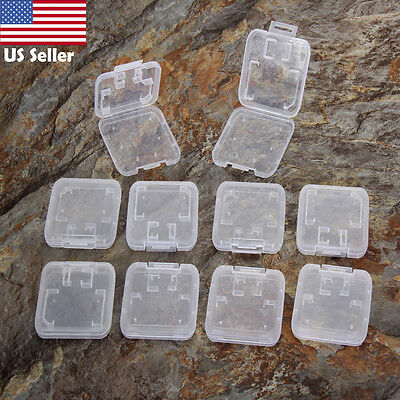 10PCS Transparent Clear Standard SD SDHC Memory Card Case Holder Box Storage US