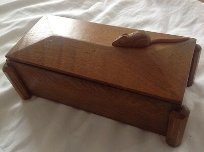 Beautiful Old Oak Box With Hardwood Hand Carved Wooden Mouse Applied