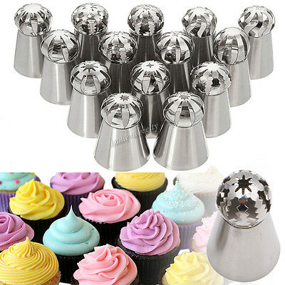 Sphere Russian Piping Tips Large Size Icing Syringe Set DIY Coupler Nozzle 14PCS