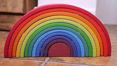 Grimm's 12 Piece Rainbow (Large/Extra large XL) Wooden Tunnel Stacking Toy BNIB