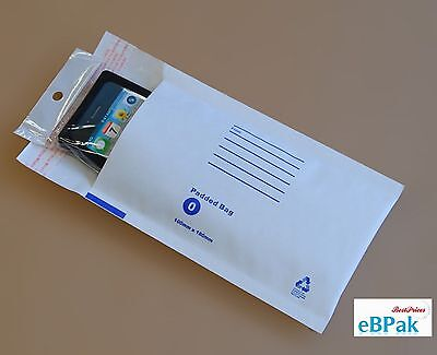 200 Bubble Envelope 100x180mm Padded Bag Mailer SIZE 00 - White Printed